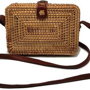 Square Crossbody Rattan Bag